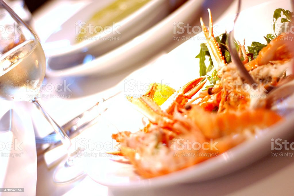 Fine dining scottish seafood stock photo