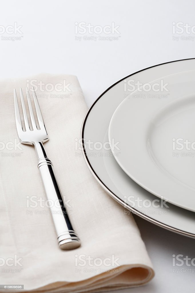 Fine dining table setting place setting china plate silverware napkin royalty-free stock photo & Fine Dining Table Setting Place Setting China Plate Silverware ...