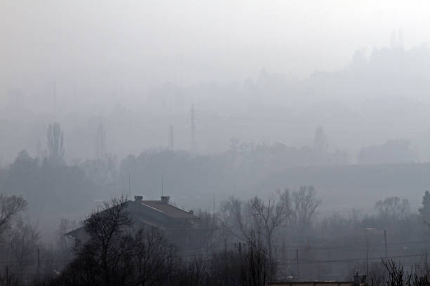 Fine particulate matter air in the city and PM2.5 dust. Bad weather from Fine Particulate Matter. Air pollution stock photo
