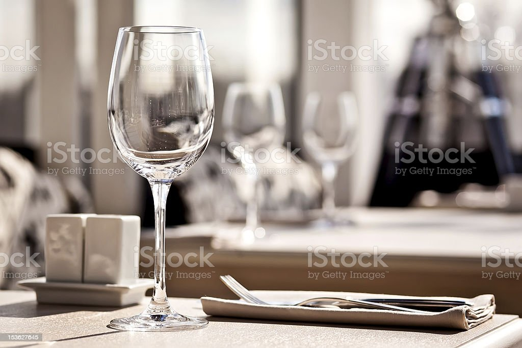 Fine restaurant dinner table place setting royalty-free stock photo