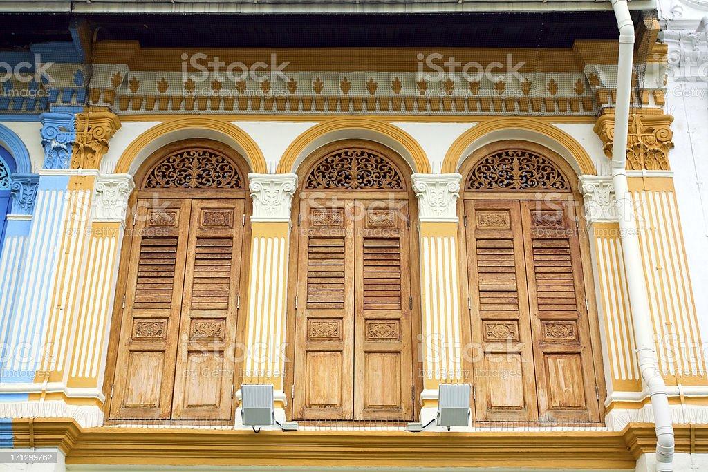 Fine restored colonial architecture in Little India stock photo