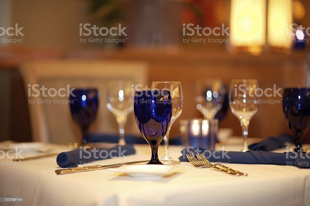 Fine table setting at a gourmet restaurant royalty-free stock photo