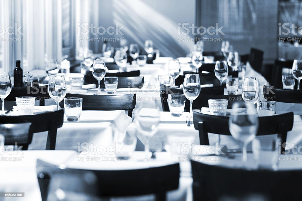 Fine table setting in a restaurant stock photo