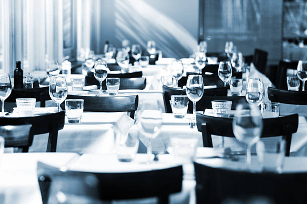 fine table setting in a restaurant - blue table setting stock photos and pictures