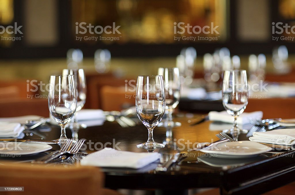 Fine table setting in gourmet restaurant (close-up) royalty-free stock photo