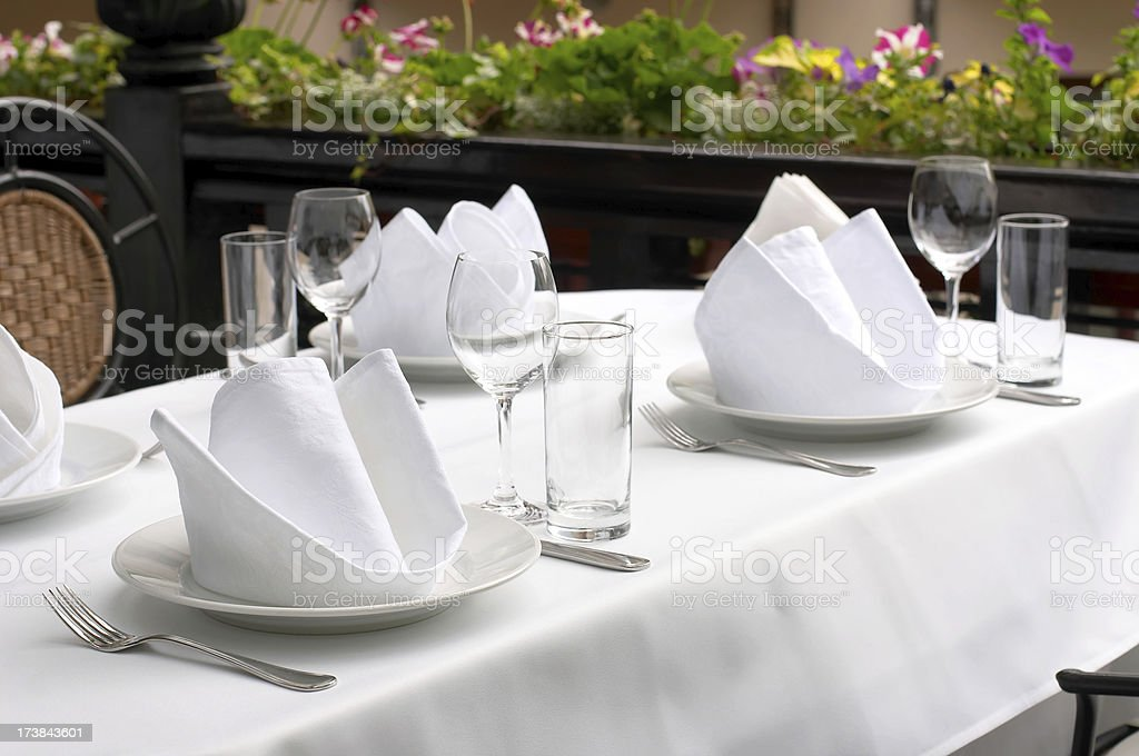 Fine table setting in gourmet restaurant royalty-free stock photo