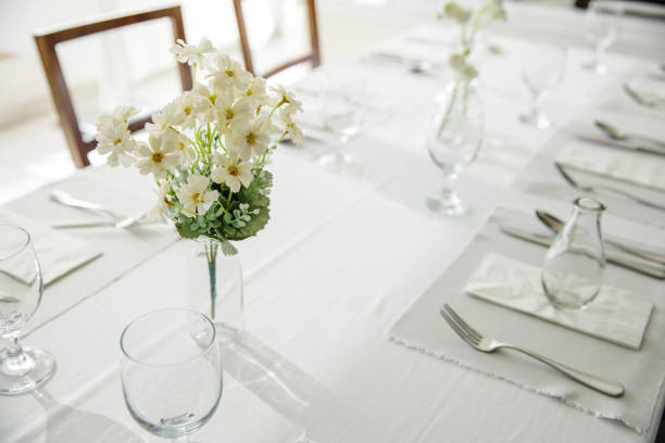 Fine table setting with flower stock photo