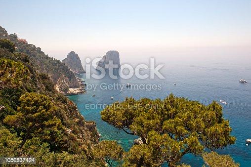 Looking form Giardini di Augusto to the Faraglioni rocks in the sea around Capri Island, Province Naples, Campania, Italy