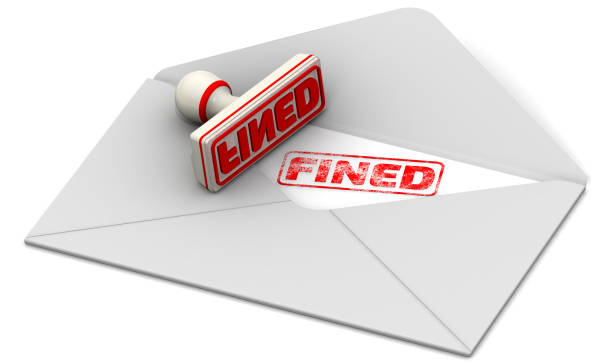 Fined. Seal and open postal envelope Red seal and imprint
