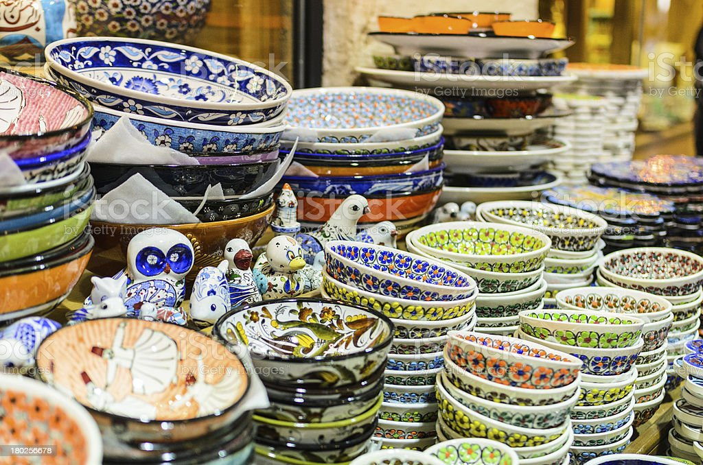 Finely decorated ceramic bowl stacked for sale at market royalty-free stock photo