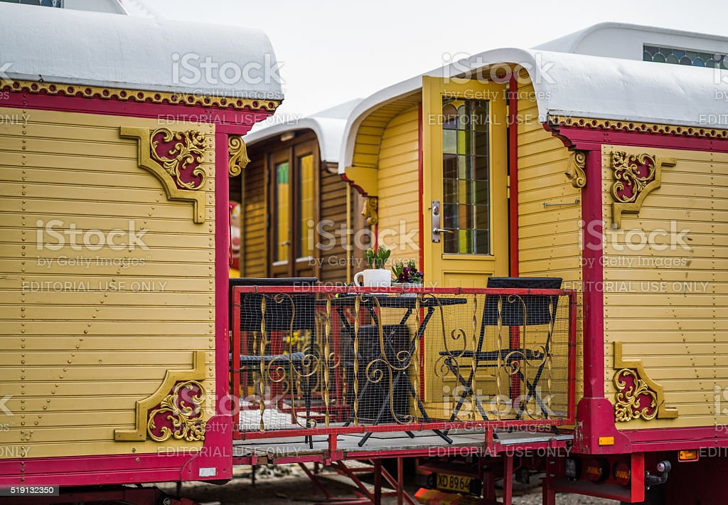Finely decorated circus wagon with a small veranda, Copenhagen, Denmark stock photo