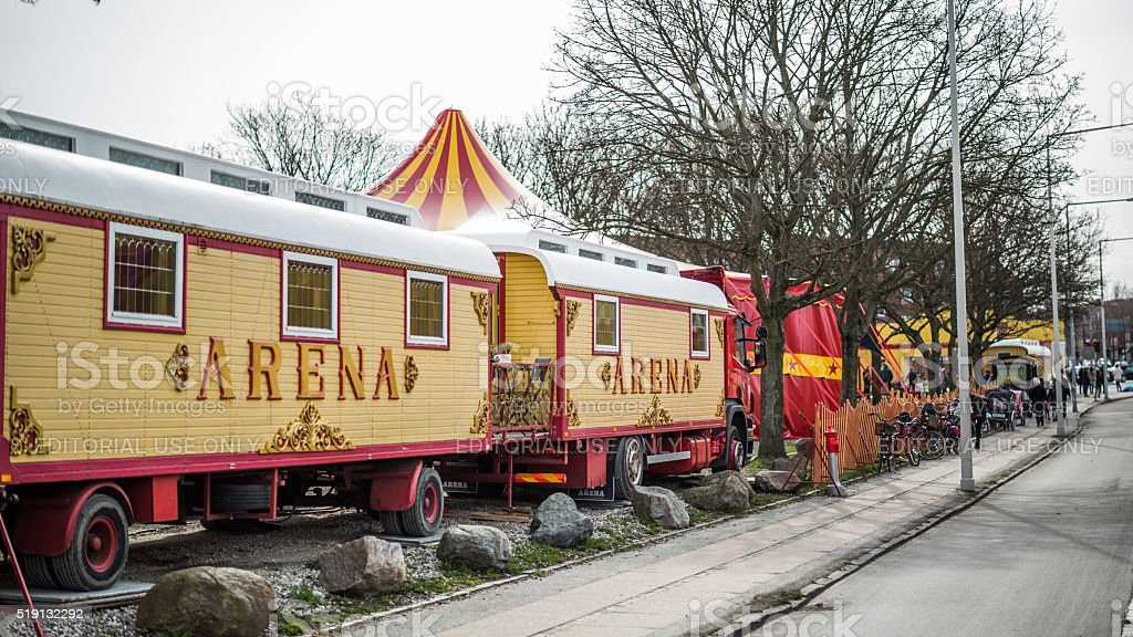 Finely decorated circus wagons, Copenhagen, Denmark stock photo