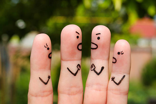Finger art of people during quarrel. stock photo