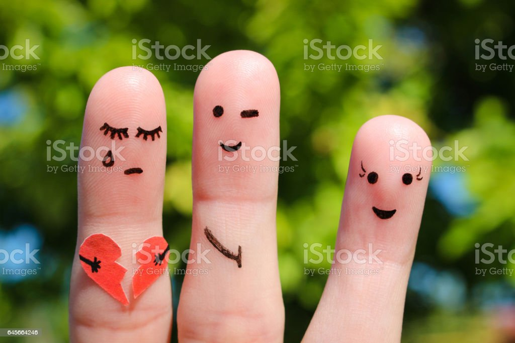 Finger art of people. Man flirts with woman. stock photo