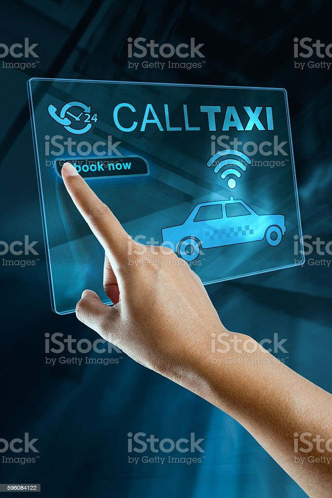 finger booking a taxi royalty-free stock photo
