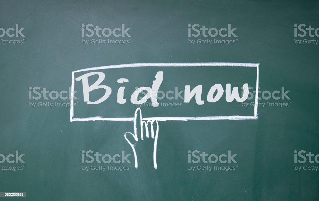 finger click bid now symbol stock photo