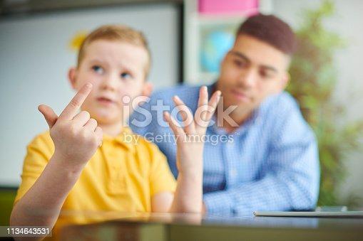 schoolboy with trainee teacher