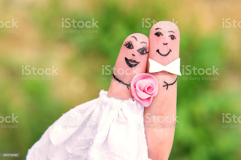 Finger Family. Bride and groom stock photo