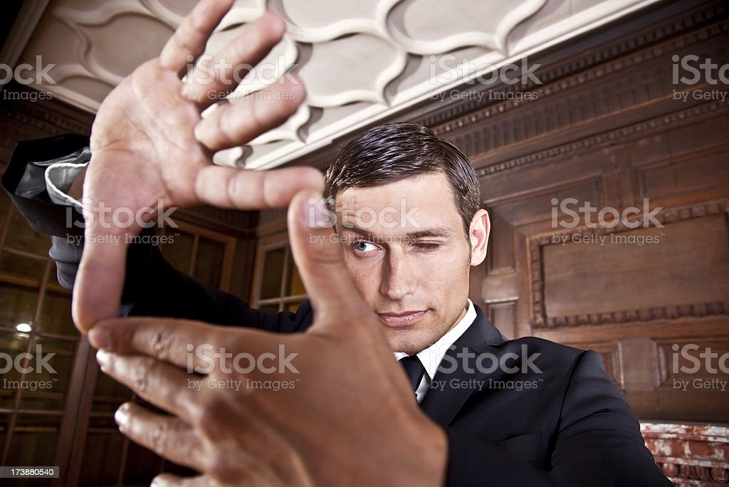 finger frame business man royalty-free stock photo