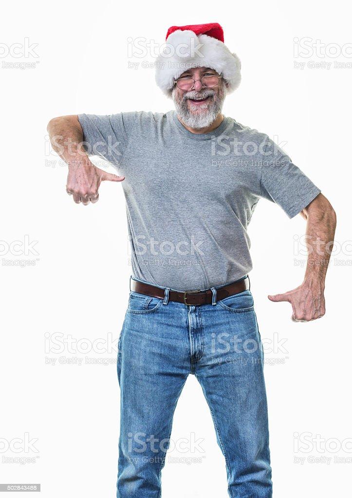 Finger Frame Gesture Santa Claus Hat Senior Adult Grandpa stock photo
