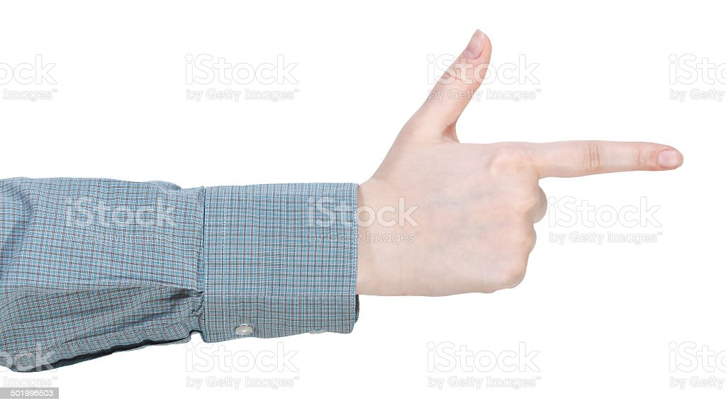 finger gun - hand gesture stock photo
