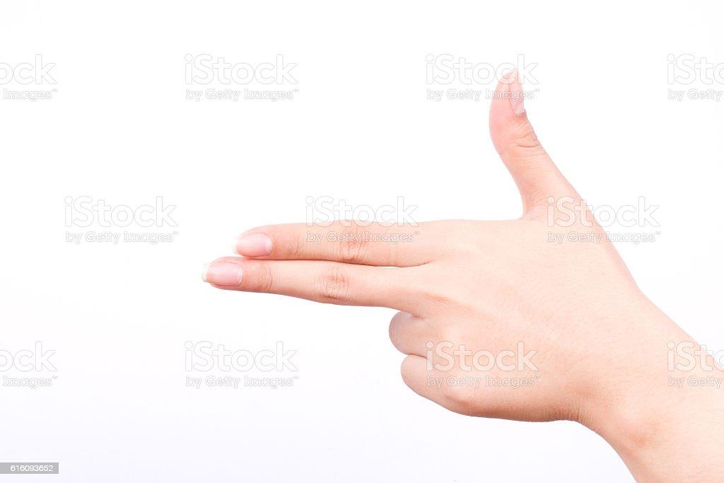 finger hand  girl symbols  concept aim pointing gun hand killer stock photo