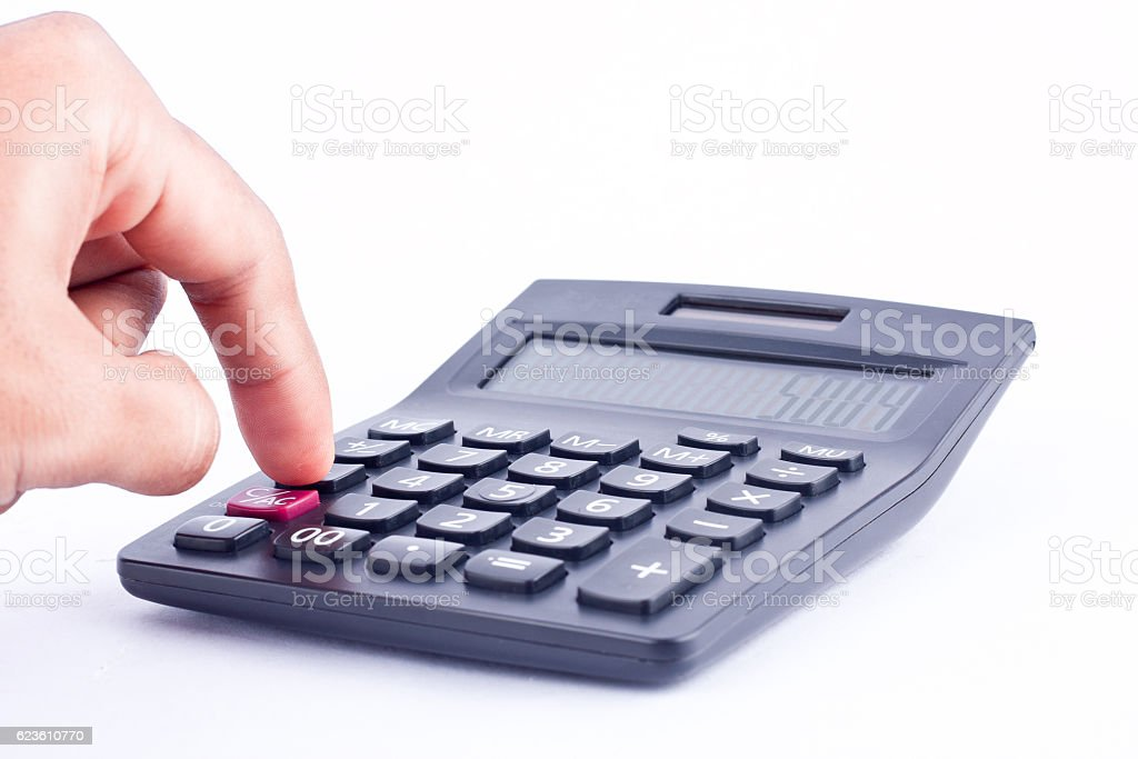 finger hand put button calculator for calculating, numbers accounting business stock photo
