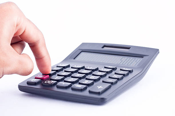 finger hand put button calculator for calculating, numbers accounting business – Foto