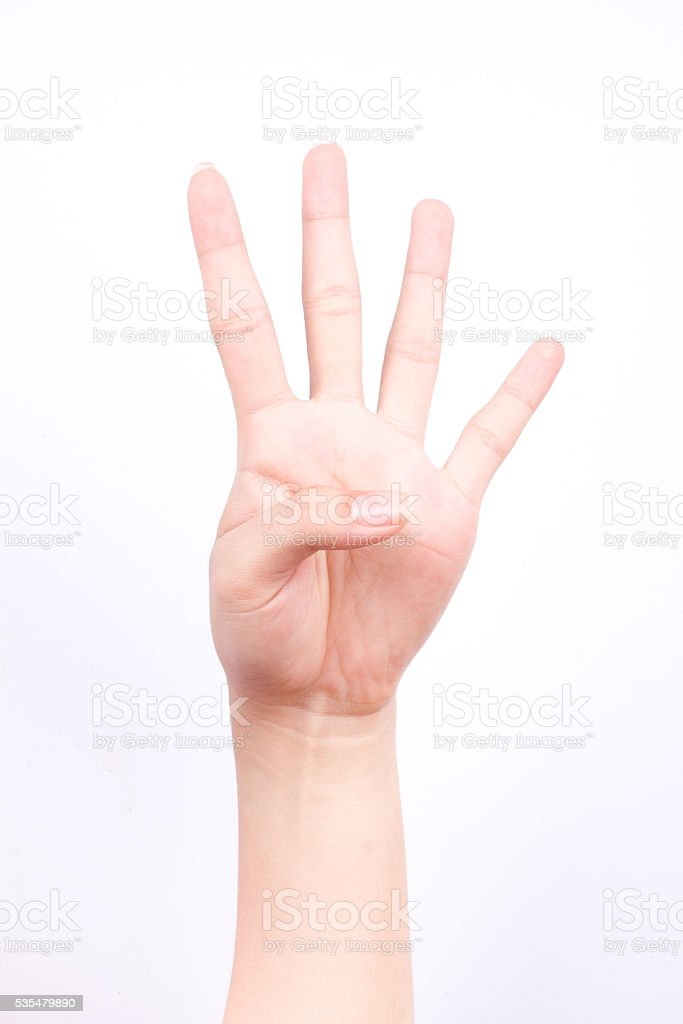 Finger Hand Symbols Isolated Concept Four Points Lesson Learn ...