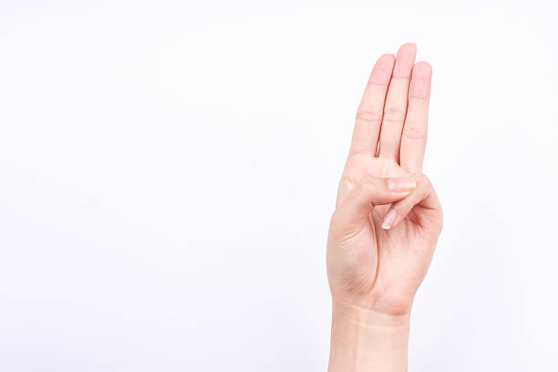 finger hand symbols isolated concept three fingers pledge Scout's oath – Foto