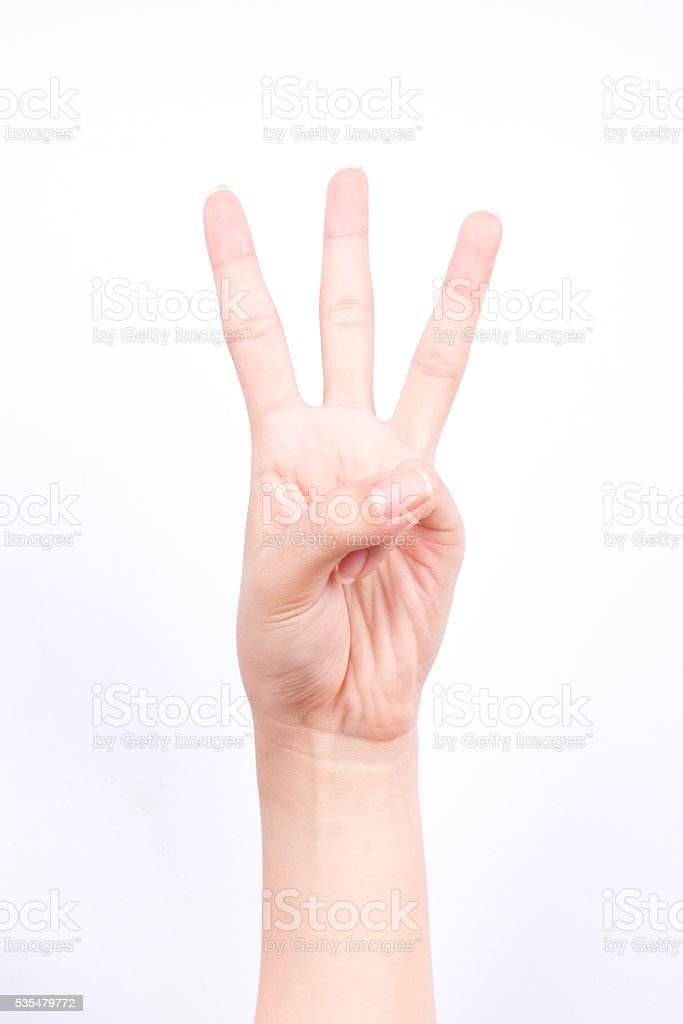 finger hand symbols isolated concept three points lesson learn teaching stock photo