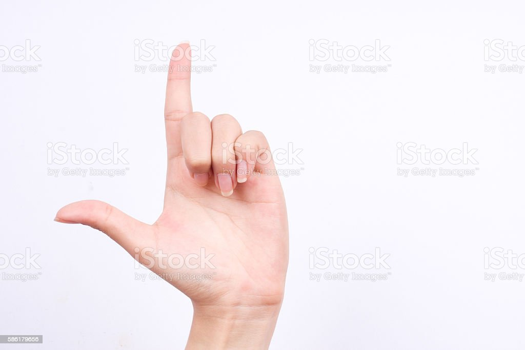 finger hand symbols  true alpha holding up the loser sign stock photo
