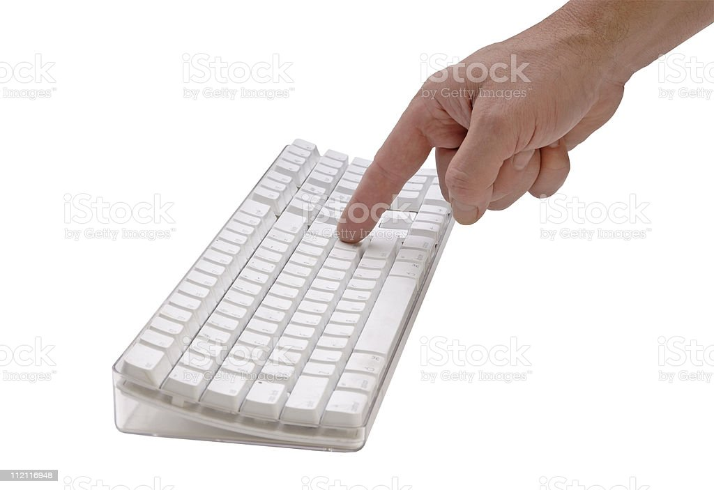 Finger hitting a keyboard button royalty-free stock photo