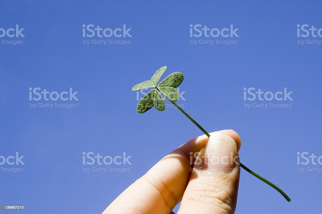 Finger holding a clover royalty-free stock photo