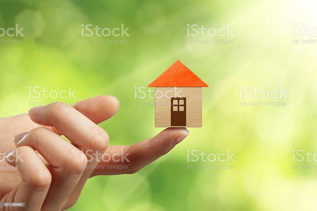 Finger holding wood brick house Lizenzfreies stock-foto