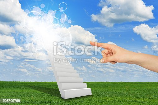 Finger indicates stairway to heaven with clouds and sun. Concept background