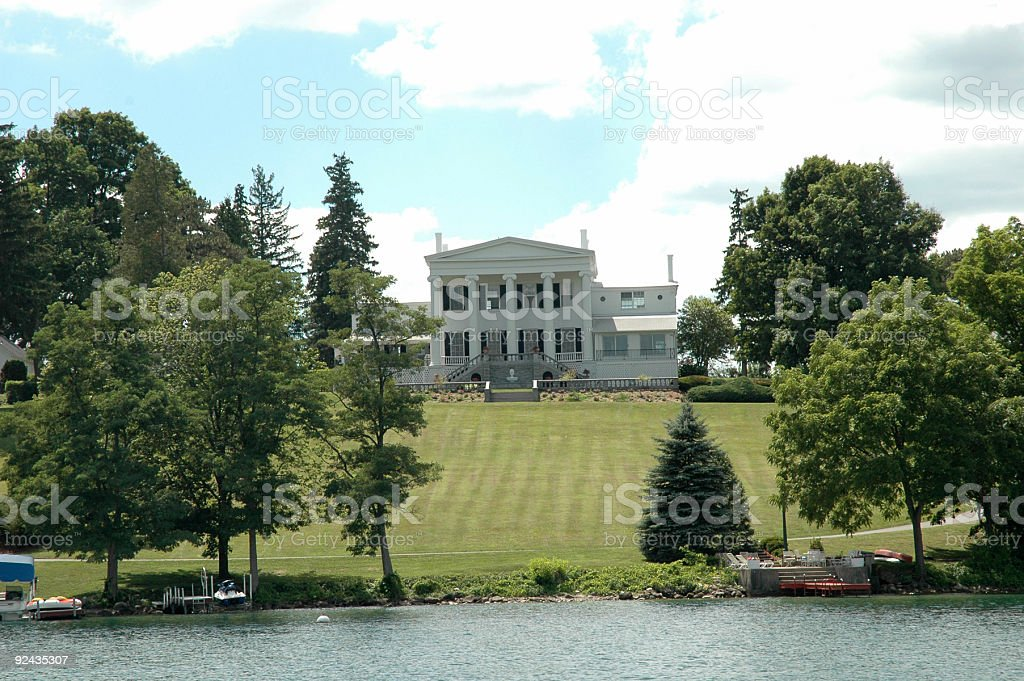 Finger Lakes - Lake Front Mansion stock photo