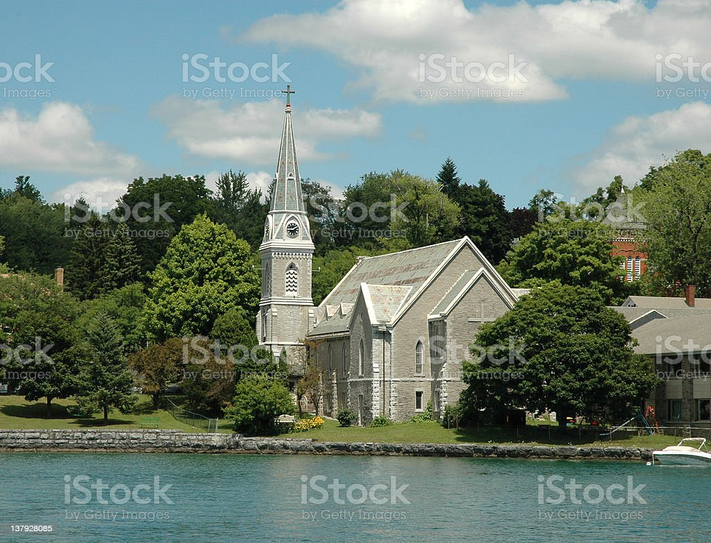 Finger Lakes Region: Lake Front Church and Steepl stock photo