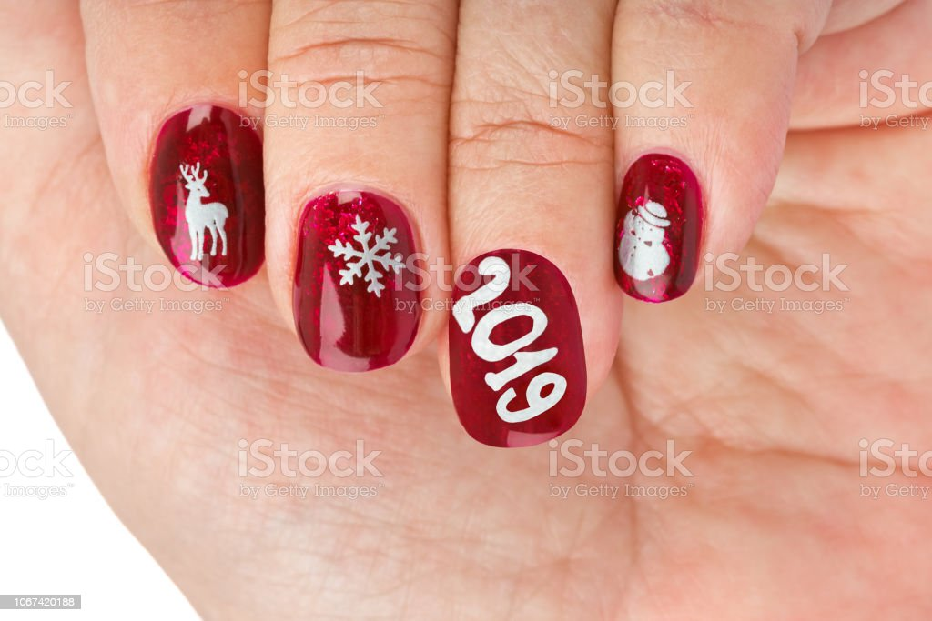 Finger nail with christmas pattern stock photo
