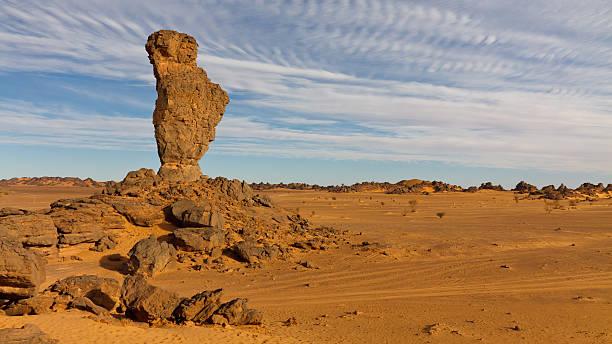 Finger of Allah Rock - Akakus (Acacus) Mountains, Sahara, Libya stock photo