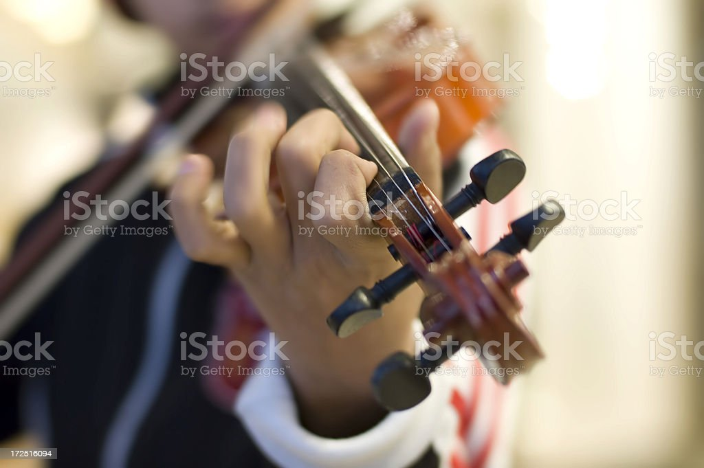 Finger on a Violin stock photo