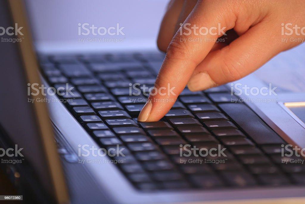 Finger on Laptop royalty-free stock photo