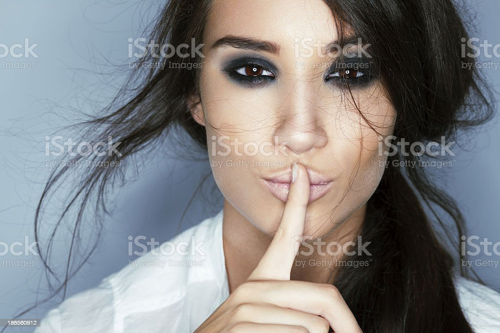 Finger on Lips, Shhhhhhhhh stock photo