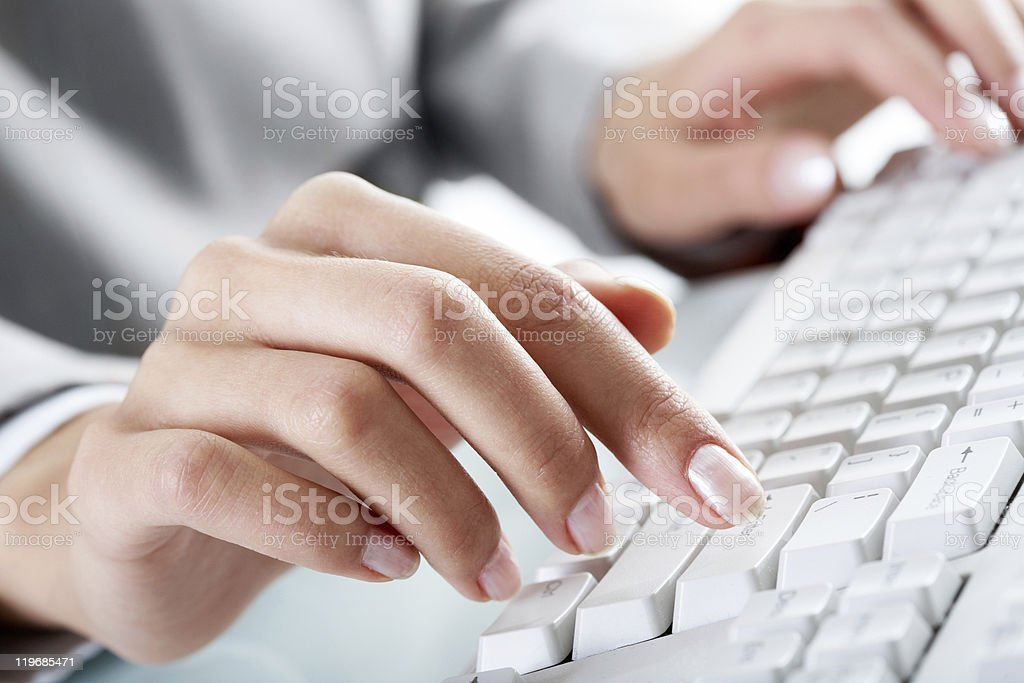 Finger over button royalty-free stock photo