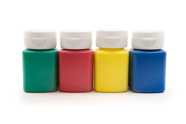 finger farben - kunststoff behälter bemalen streichen stock-fotos und bilder