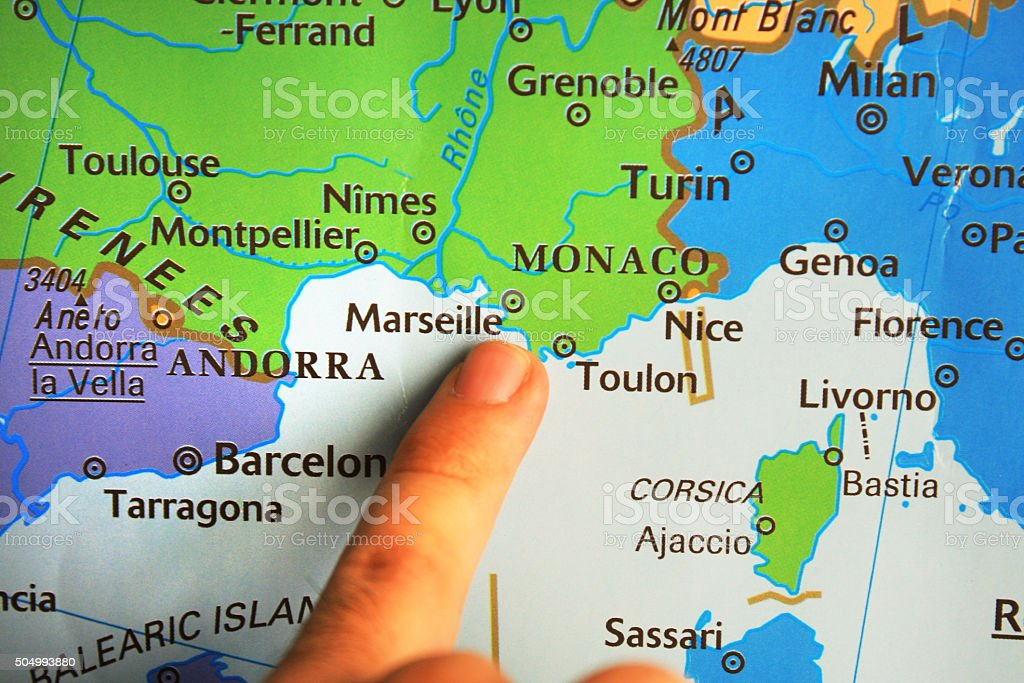South Of France Map Detailed.Finger Pointed On A Map South France Stock Photo Download Image