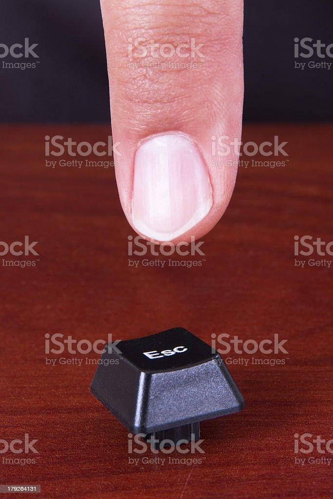 Finger Pointing ESC Key stock photo