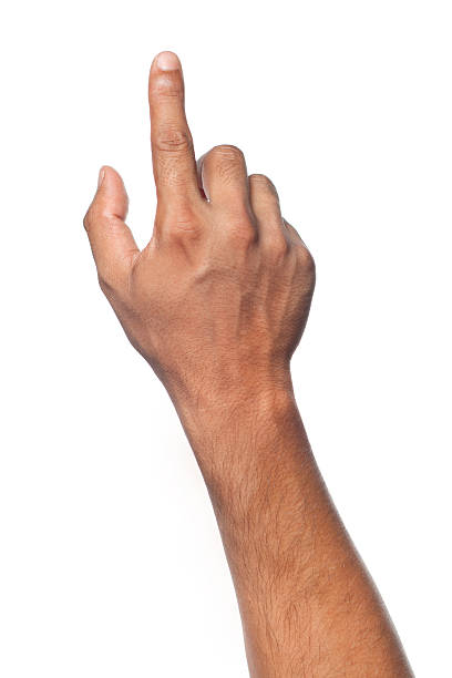 Finger pointing stock photo