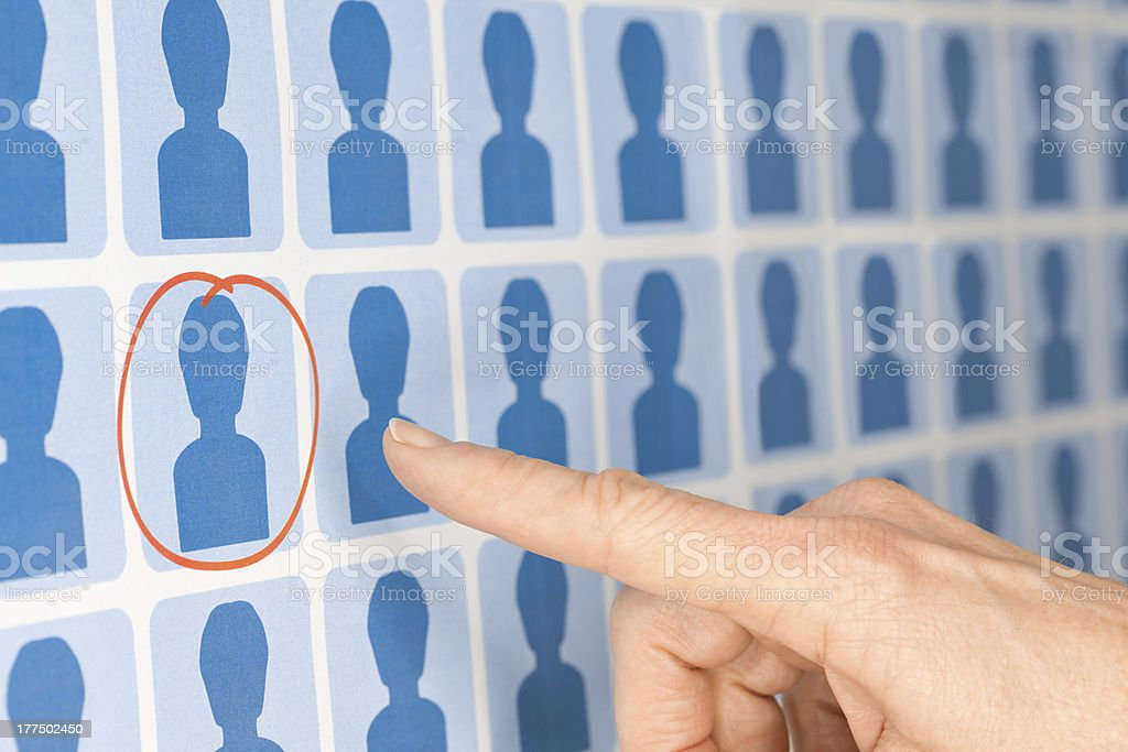 Finger Pointing to Selected Staff Candidate royalty-free stock photo