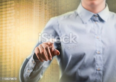 1082409706 istock photo Finger pointing / Touch screen concept (Click for more) 1133079673